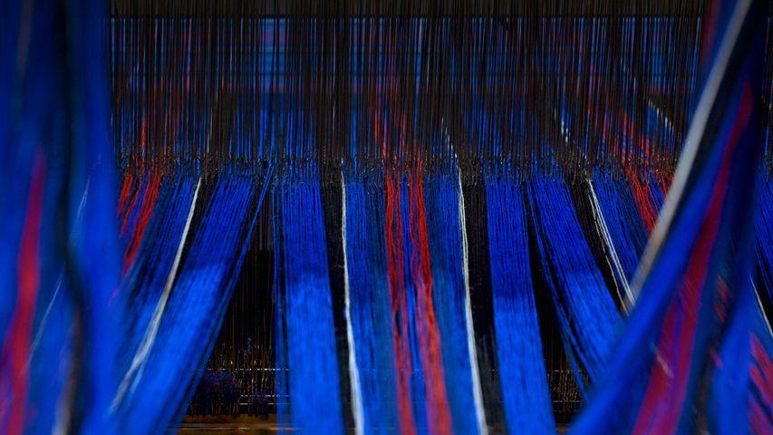 Tartan fabric on a loom in Edinburgh, Scotland