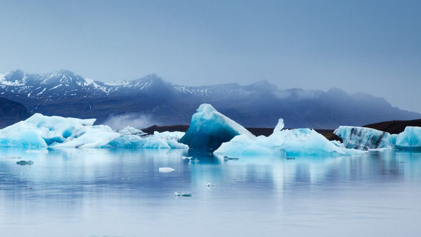 Ice in Jökulsarlon, a glacier lagoon in southeast Iceland
