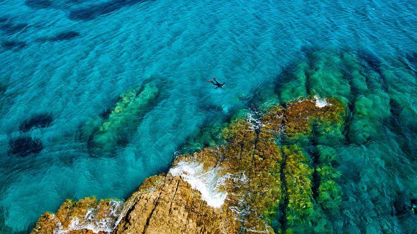 Schnorchler im Mittelmeer, Parque Natural de Cabo de Gata-Níjar, Provinz Almería, Spanien