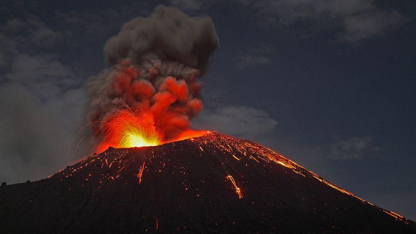 Anak Krakatoa volcano erupting off the coast of Sumatra, Indonesia