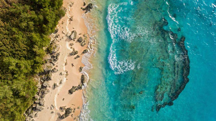 Aerial view of Marley Beach, Bermuda