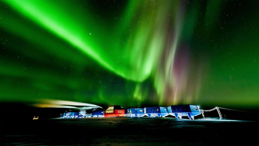 Aurora Australis over the Halley VI Research Station in Antarctica