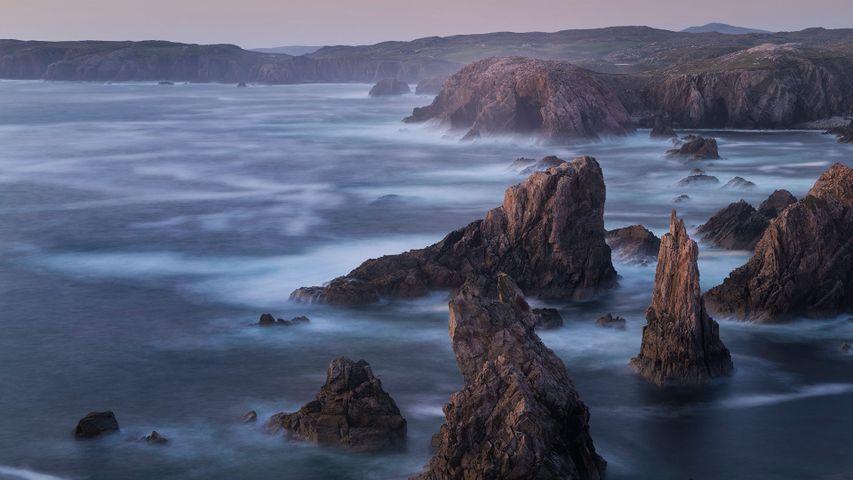 Jagged coastal sea stacks at Mangersta, Isle of Lewis, Outer Hebrides