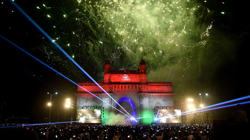 New Year's Eve fireworks at the Gateway of India, Mumbai