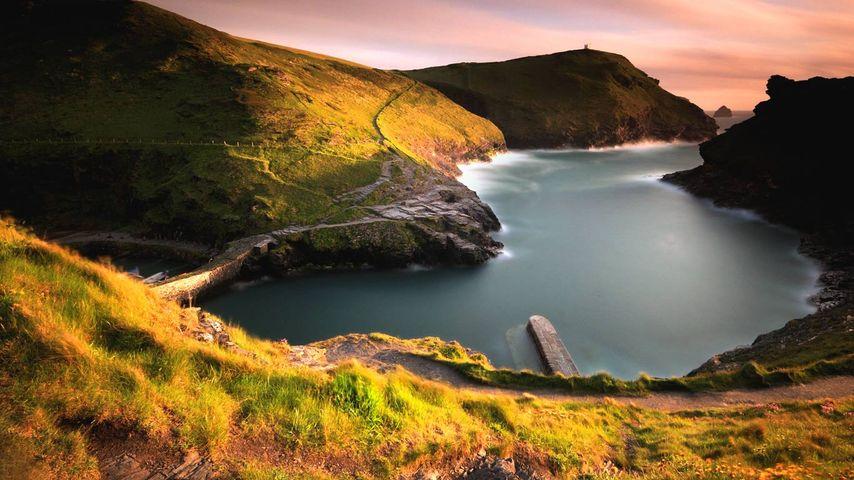 Boscastle harbour on the Cornish coast of England