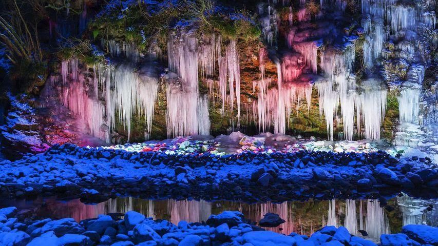 De la glace illuminée à Chichibu, Japon