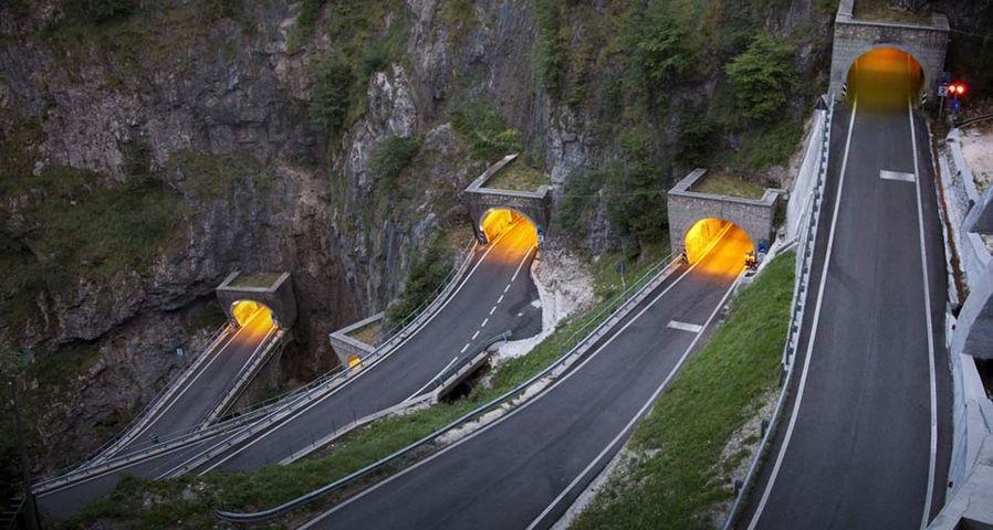 Hairpin bends in the tunnels climbing toward San Boldo pass, Treviso district, Veneto, Italy