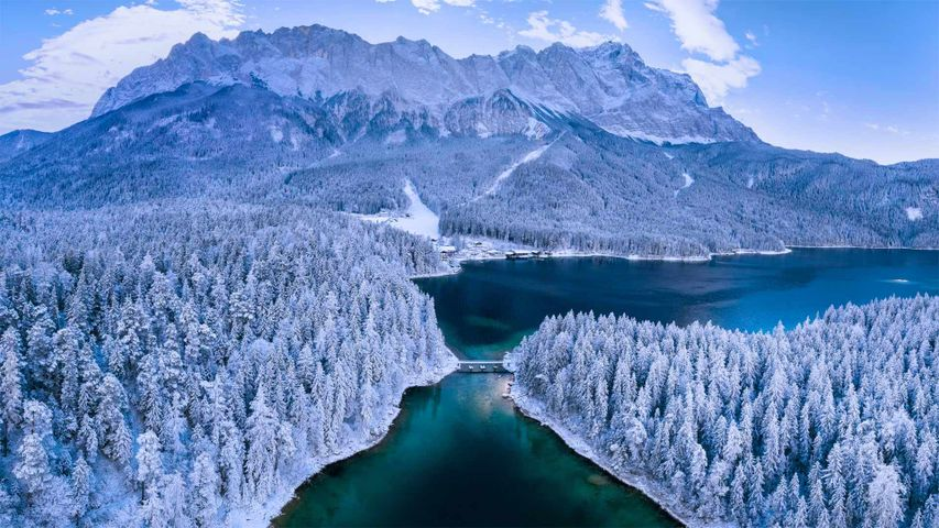 Eibsee lake at the base of Zugspitze mountain, Bavaria, Germany