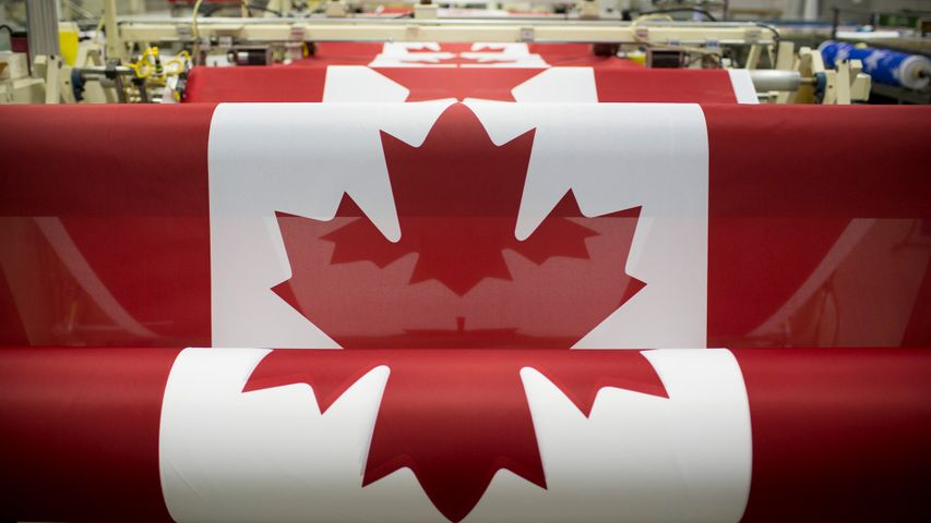 Canadian flags are printed at the Flags Unlimited facility in Barrie, Ont.