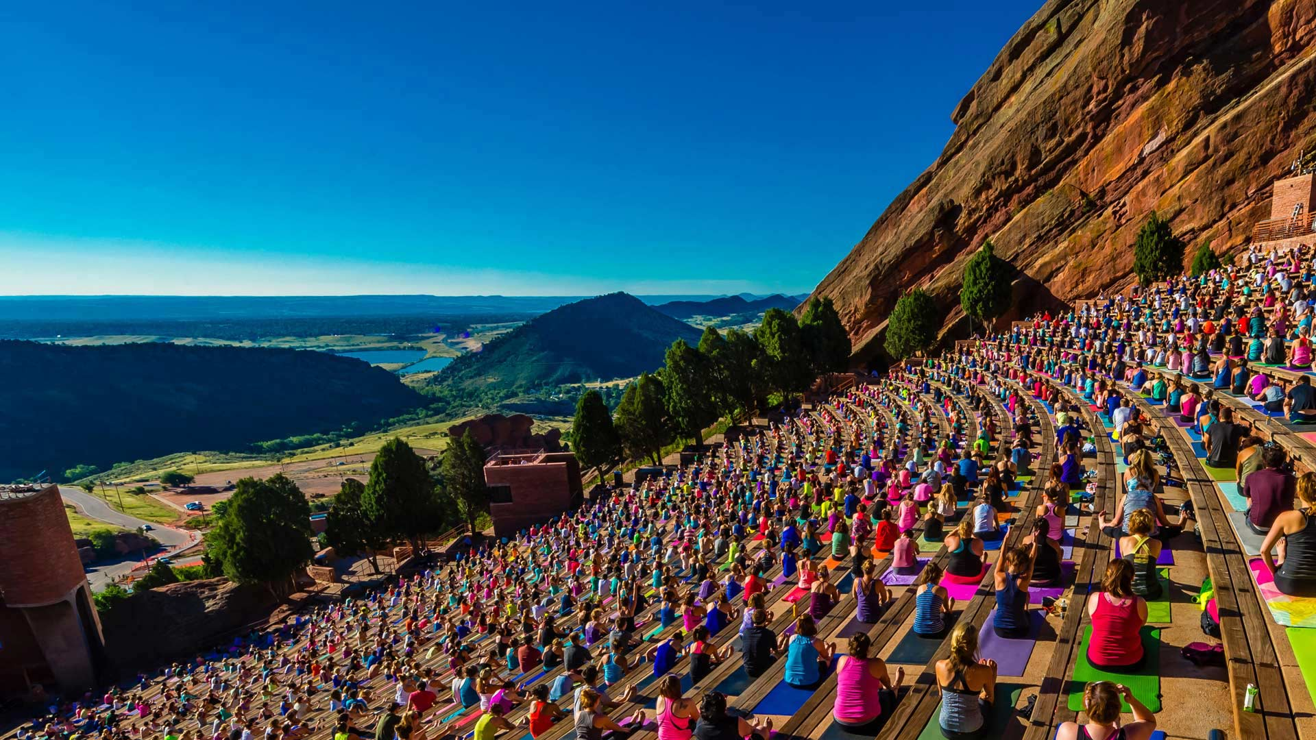 Yoga Practitioners At Red Rocks Amphitheatre In Colorado Peapix
