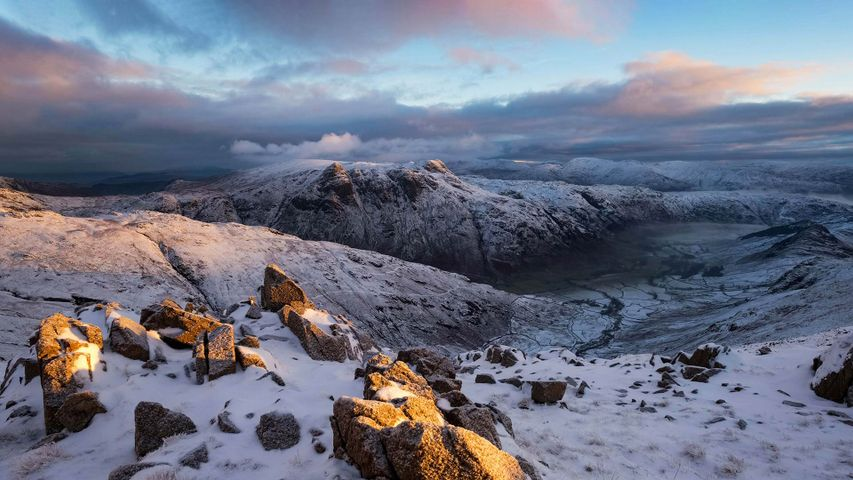The Langdale Pikes in winter under fresh snow, Lake District, Cumbria