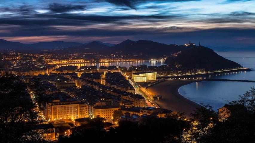 Palais Kursaal et la baie de la Concha, Saint-Sébastien, Pays Basque, Espagne