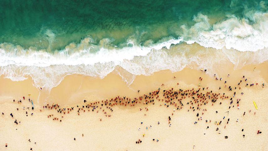 Swimmers at Bondi Beach in Sydney, Australia