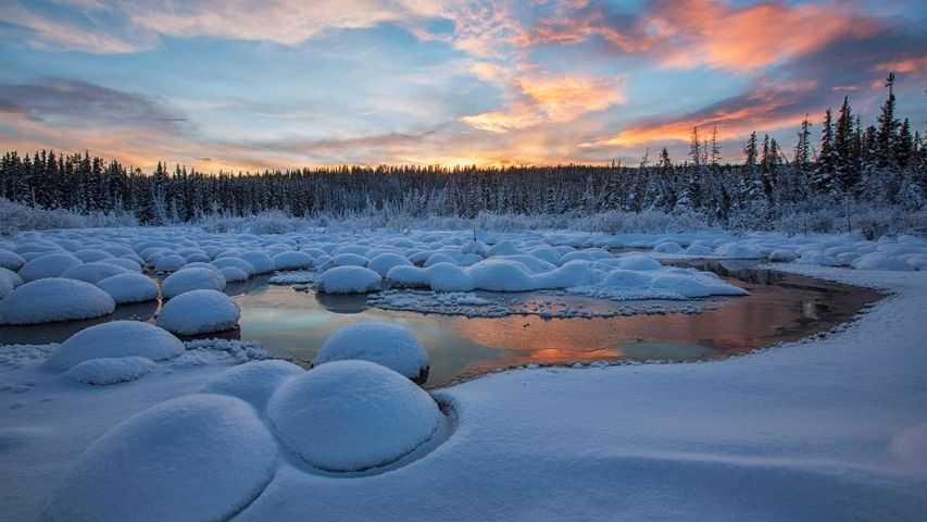 Red clouds at sunset over McIntyre Creek in Whitehorse, Yukon