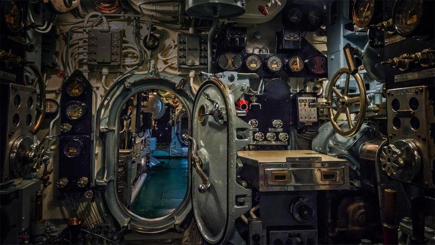 Forward engine room of the USS Drum, a Gato-class submarine at Battleship Memorial Park, Mobile, Alabama
