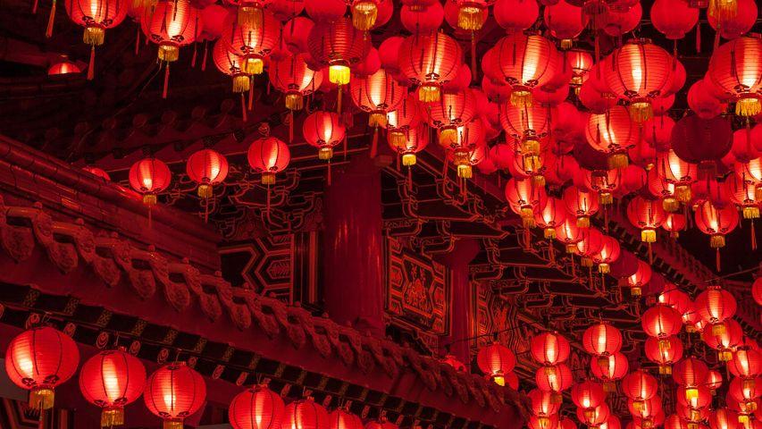 【今日元宵节】乐圣岭天后宫悬挂的红灯笼,马来西亚吉隆坡