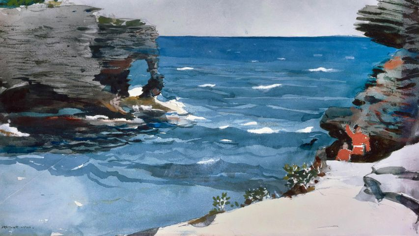 'Rocky Shore' watercolour by artist Winslow Homer, Bermuda, 1900. From the collection of the Museum of Fine Arts, Boston, USA
