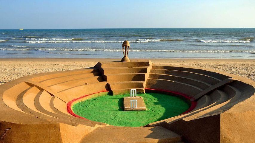 A cricket stadium made from sand in Puri, Odisha, India