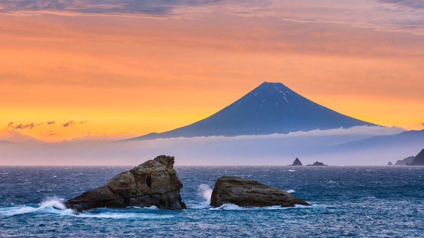 Mount Fuji and twin rocks (Ushitukiiwa) in Matsuzaki, Japan