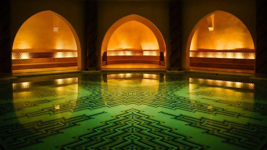Hammam bathhouse beneath the Hassan II Mosque, Casablanca, Morocco