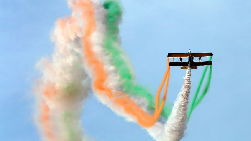 Aerobatics during an Aero-India Show at the Yelahanka Airforce Station in Bangalore