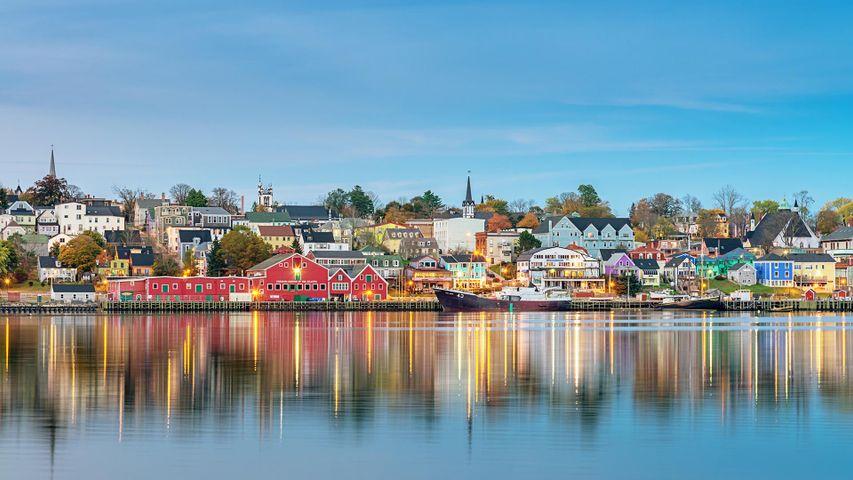 Panoramic view of the waterfront in Lunenburg, Nova Scotia