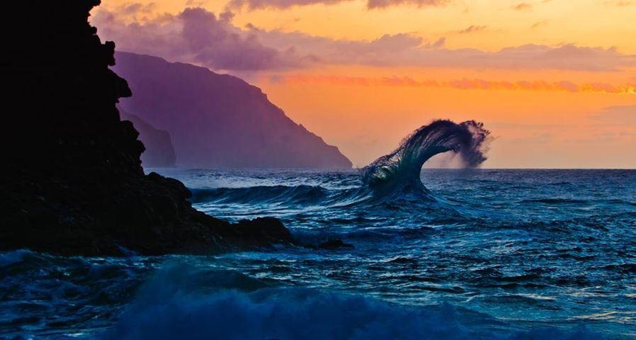 Wave breaking off Ke'e Beach on Kauai, Hawaii, USA