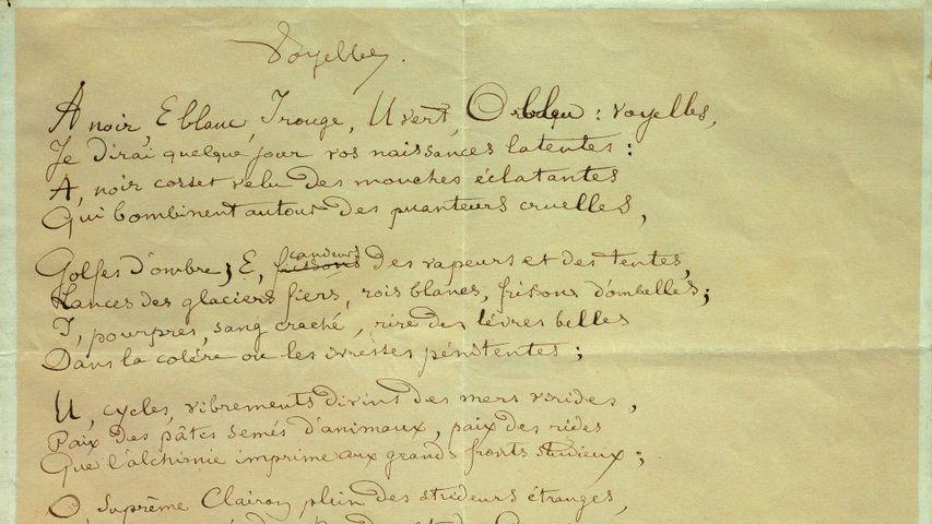 Manuscrit du poème « Les Voyelles » par Arthur Rimbaud (1854-1891),  Musée Arthur Rimbaud, Charleville-Mezieres