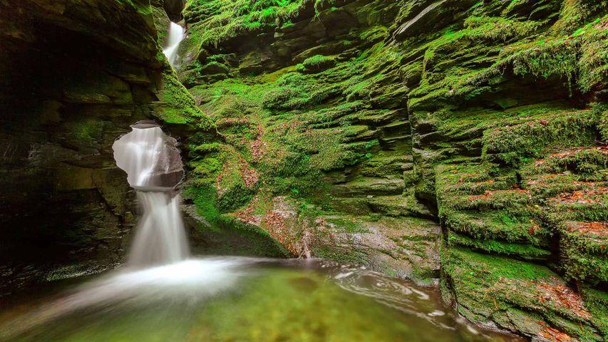 A waterfall at St Nectan's Glen near Tintagel, Cornwall