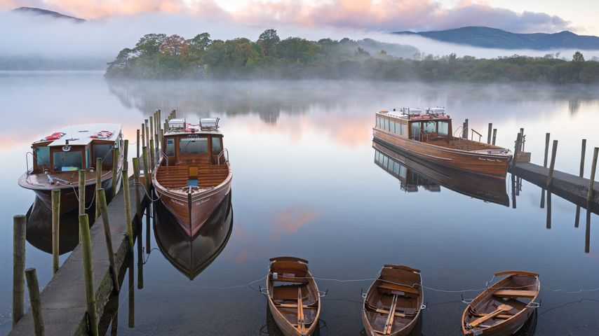 Boats on Derwentwater in the Lake District National Park, Cumbria