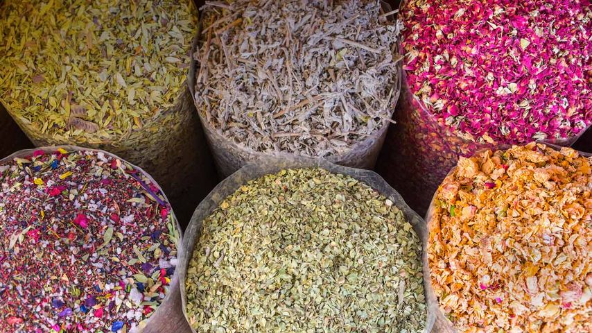 Dried flowers and herbs at the Dubai Spice Souk in Dubai, United Arab Emirates