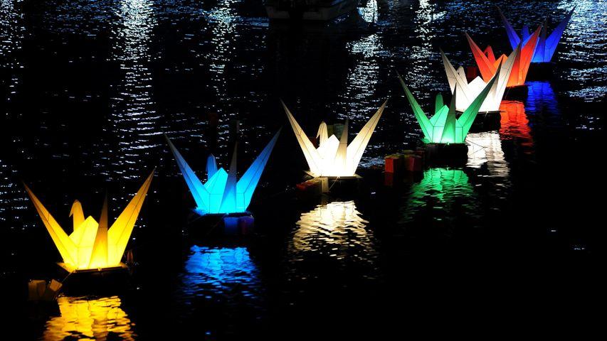「折り鶴の灯篭」広島, 元安川