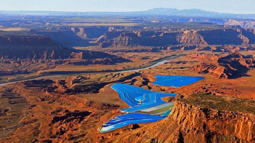 Potash evaporation ponds in the desert near Moab, Utah