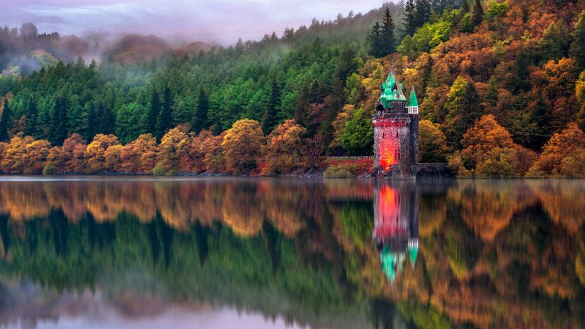 The straining tower at Lake Vyrnwy in Powys, Wales