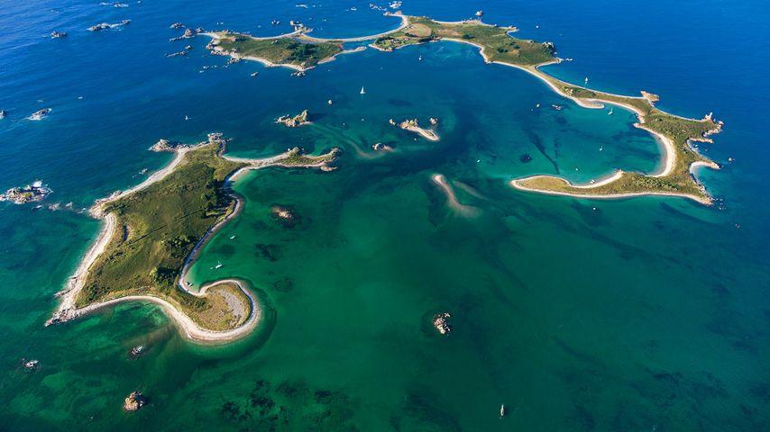 La Petite Île und Ile d'Er, Plougrescant, Département Côtes-d'Armor, Frankreich