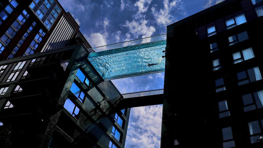 The Sky Pool at Embassy Gardens in London, England