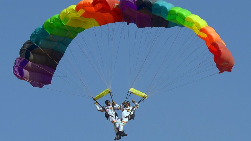 Akash Ganga, the 14-member skydiving team of the Indian Air Force in action