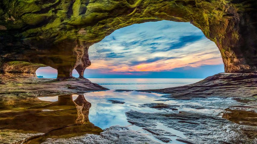 Cavern in Pictured Rocks National Lakeshore on Lake Superior, Michigan