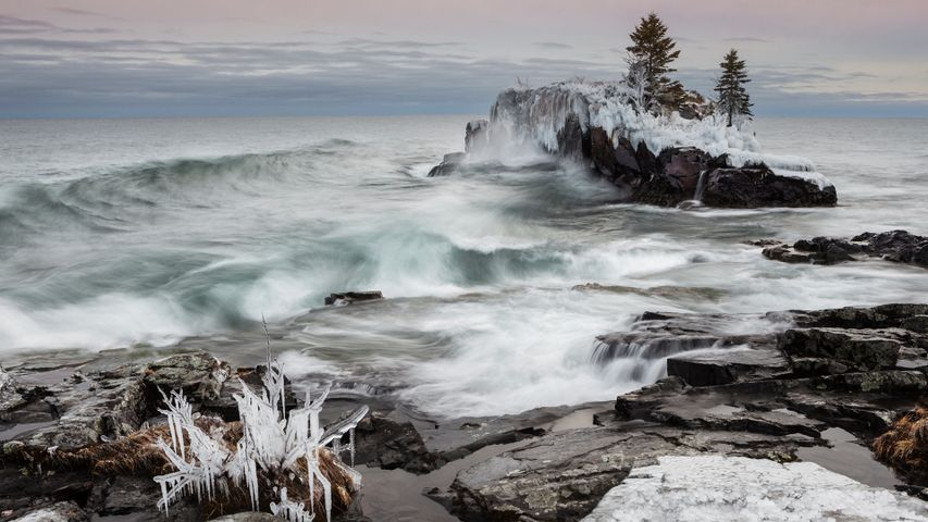 Snow and ice along the shoreline of Lake Superior in winter; Thunder Bay, Ontario