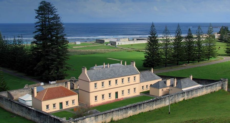 Old government buildings and remains of the penal colony in Kingston, the capital of Norfolk Island, located east of Sydney