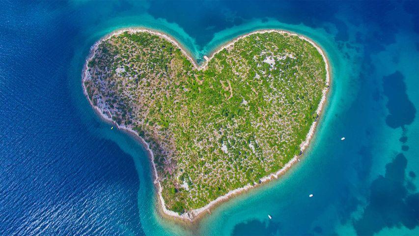 Aerial view of Galešnjak Island on the Adriatic coast of Croatia