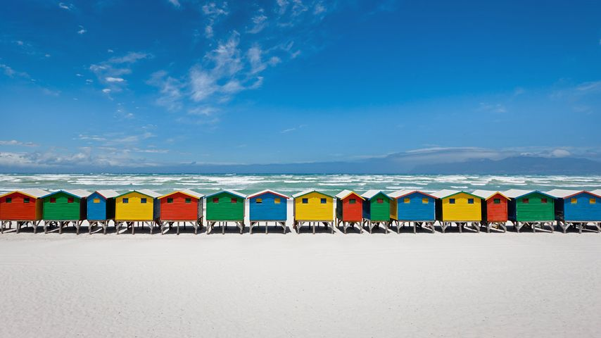 Strandhäuser in Muizenberg, Südafrika