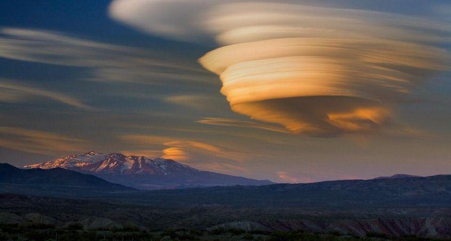 Lenticular cloud sunset over extinct volcano, Patagonia, Argentina