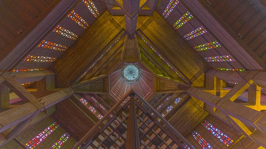 Intérieur de l'église Saint-Joseph du Havre, Seine-Maritime, Normandie