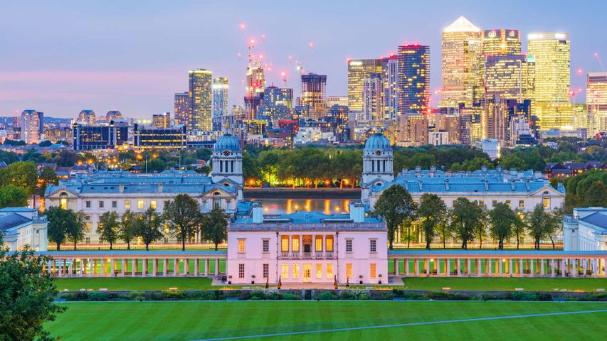 Night-time view of Greenwich Park and Canary Wharf, London