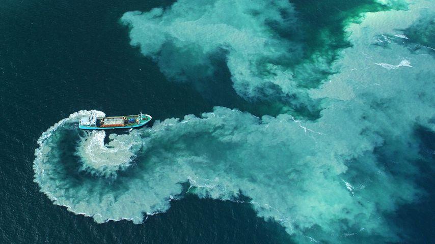 A dredge boat near the Glénan Islands, France