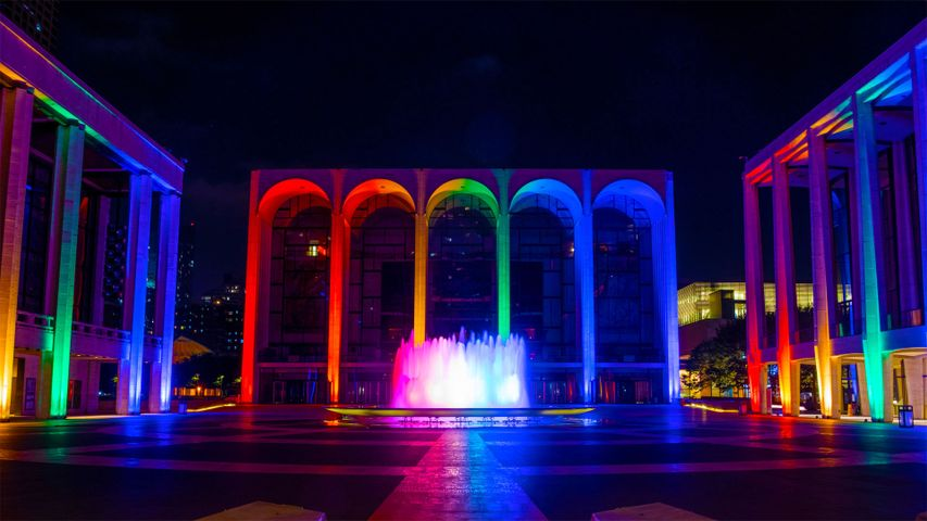 Lincoln Center for the Performing Arts lit in Pride colors on June 18, 2020 in New York City