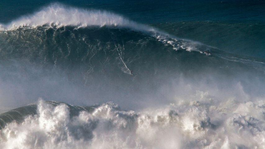 Rodrigo Koxa riding the biggest wave ever surfed, on 8 Nov 2017, off the coast of Nazaré, Portugal