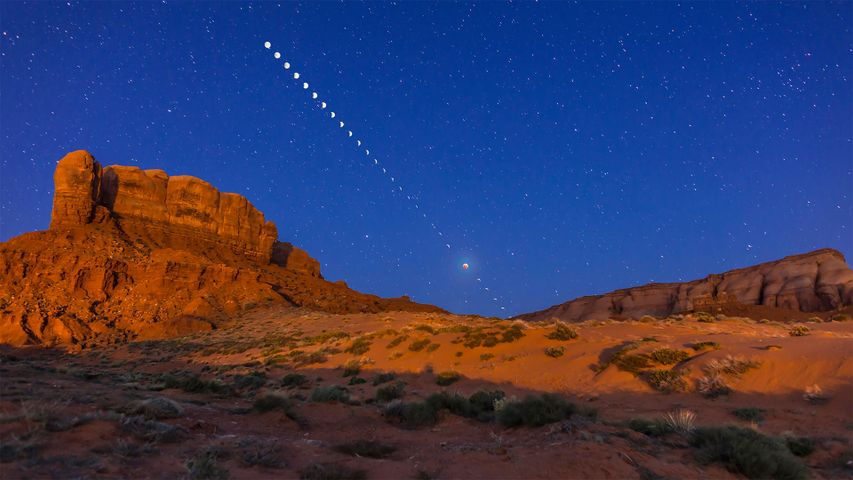 The total lunar eclipse of April 4, 2015, taken from near Tear Drop Arch, in western Monument Valley, Utah
