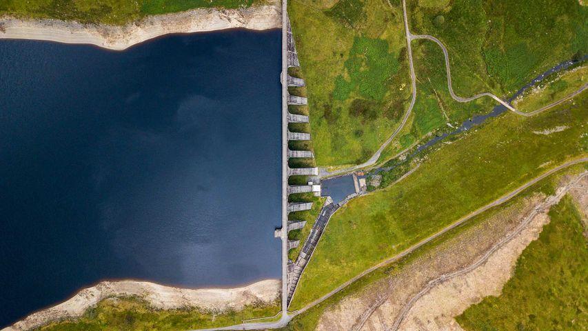 High angle view of Nant-y-Moch dam and reservoir, near Aberystwyth